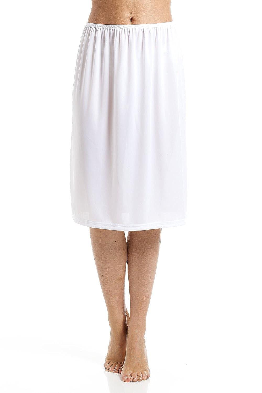 Camille White 24'' Half Length Cling Resistant Under Skirt Slip
