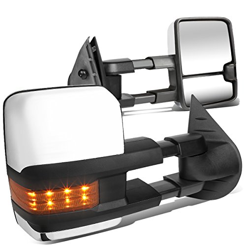 For Chevy Silverado Tahoe/GMC Sierra Yukon Pair Chrome Tow Mirrors Amber LED Turn Signal Lights
