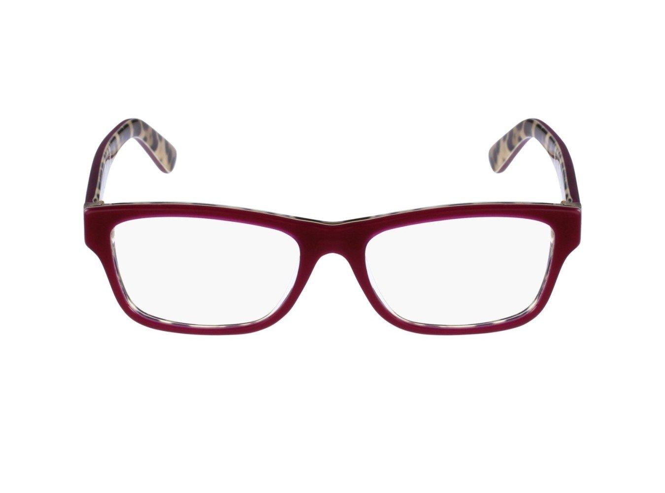 Dolce&Gabbana ENCHANTED BEAUTIES DG3208 Eyeglass Frames 2882-52 - Top Opal Bordeaux/Leo