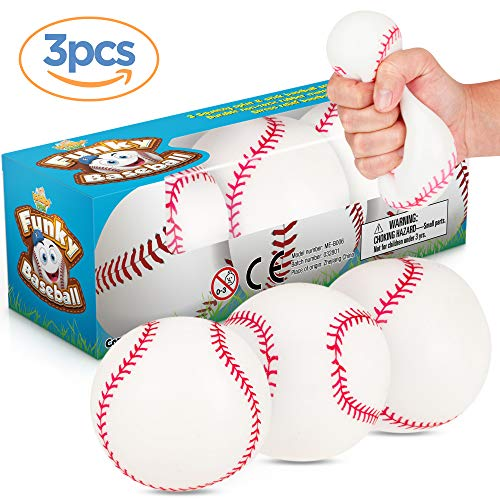Baseball Stress Ball - Funky Baseballs 3 Splat 'N' Stick