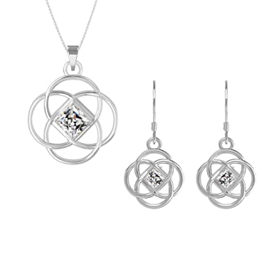 a0c6a1d1f Amazon.com: Swarovski Pendant Necklace Earrings Studs Sterling Silver March  Birthstone Aquamarine Color Celtic Knot Jewelry Set for Women and Girls: ...