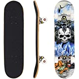 "Hikole Skateboard - 31"" x 8"" Complete PRO Skateboard - Double Kick 9 Layer Canadian Maple Wood Adult Tricks Skate Board for Beginner, Birthday Gift for Kids Boys Girls 5 Up Years Old"