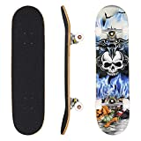 Ancheer 31' Pro Skateboard Complete 9 layer Canadian Maple Wood Double Kick Concave Skate Board