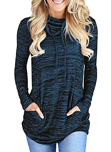 Kimiee Womens Long Sleeve Cowl Neck Casual Sweatshirt Pullover Tunic Tops (3XL, Blue)