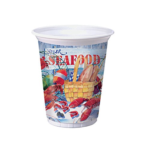 Creative Converting Printed Plastic Cups, 16 oz, Seafood Celebration (8-Count)