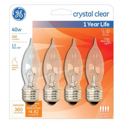 Bent Clear Tip (G E LIGHTING 76230 GE Crystal Bulb, 40W, Clear, 4-Pack)