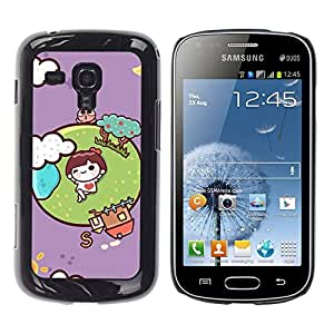 MOBMART Carcasa Funda Case Cover Armor Shell PARA Samsung Galaxy S Duos S7562 - I'M In Love With The World!