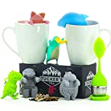 Tuckers Tea infuser set of 7-cute diffuser animals silicone steeper strainer with gift box