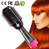 One Step Hair Dryer and Styler Volumizer Hair Straightener Brush Large Hot Air Hair Brush for All Hairstyle(1000W 110V) - Black Pink