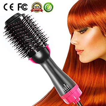 One Step Hair Dryer and Styler Volumizer for Mother s Day Hair Straightener Brush Large Hot Air Hair Brush for All Hairstyle 1000W 110V – Black Pink