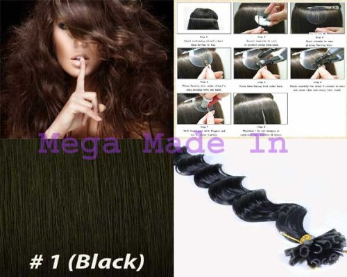 200 Strands Deep Wave Curly Pre Bonded U Nail Tip Fusion Remy Human Hair Extensions 22