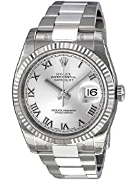 Perpetual Datejust Rhodium Dial Stainless Steel 18kt White Gold Mens Watch 116234RRO