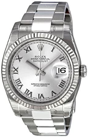 ba88152a6415 Image Unavailable. Image not available for. Color  Rolex Perpetual Datejust  Rhodium Dial Stainless Steel 18kt White Gold ...
