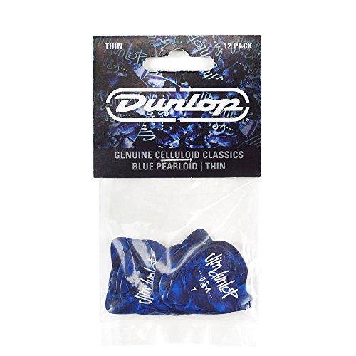 Dunlop 483P10TH Classic Celluloid Blue Pearloid Guitar Picks, Thin, 12-Pack