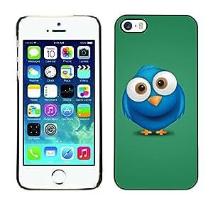 YiPhone /// Prima de resorte delgada de la cubierta del caso de Shell Armor - Cute Big Eye Blue Bird - Apple iPhone 5 / 5S