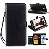 Galaxy J7 V Case,Galaxy J7 Prime Case,Galaxy J7 Perx Case,J7 2017 Case,Galaxy J7 Sky Pro Case,Alkax PU Leather Wallet Flip Slim Cover with Card Slots Holder and Stand for Samsung J7 2017 &Stylus-Black