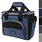 OPUX Thermal Insulated Soft Mini Collapsible Cooler Bag with Shoulder Strap | Leakproof Liner, Large Lunch Box for Family Car Road Trips, Construction Job, Work Office | Fits 16 Cans (Heather Navy) For Sale