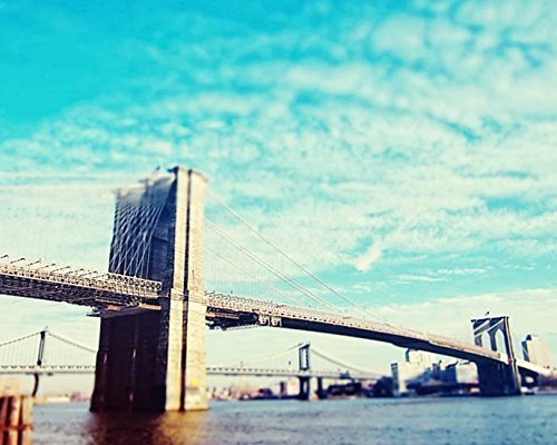 (Brooklyn Bridge photo New York City photography Architectural 5x7 inch Print)