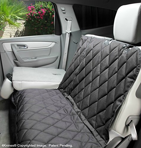 4Knines Dog Seat Cover Without Hammock for Fold Down Rear Bench Seat 60/40 Split and Middle Seat Belt Capable - Heavy Duty - Black Regular - Fits Most Cars, SUVs, and Small Trucks - USA Based Company by 4Knines (Image #1)
