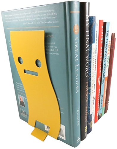 - Straight Face Non-Skid Metal Bookend Wavy Yellow 8 x 3.7 With Black Cat Page Holder Bookmark (Bundle of 3)