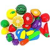 9 قطع لعبة طعام بلاستيكية تظاهر أنها لعبة قطع الفاكهة والخضروات والغذاء التظاهر للأطفال