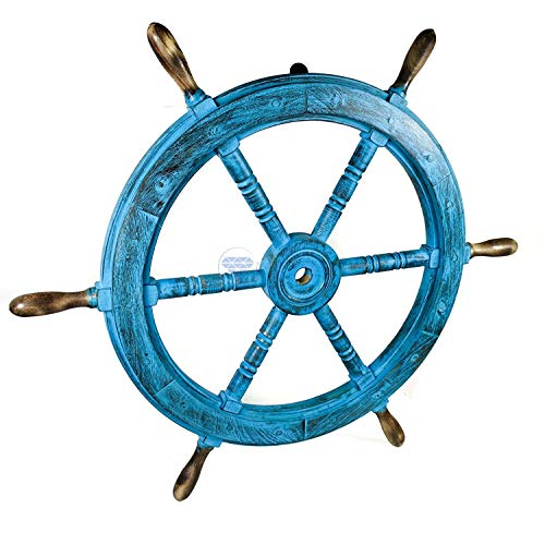 Nagina International Nautical Decorative Blue White Painted Ship Wheel Home Decor (36 Inches)