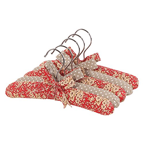 NEOVIVA Baby Coat Hanger Set of 5, Cotton Fabric Hangers with Wood and Sponge Padding for Infants, Floral Mandarin Red Blossom