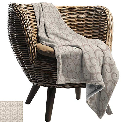 AndyTours Cool Blanket,Beige,Swirling Leaves Motifs Regular Curved Baroque Floral Design Retro Old World in Mod Art, Beige,for Bed & Couch Sofa Easy Care 50