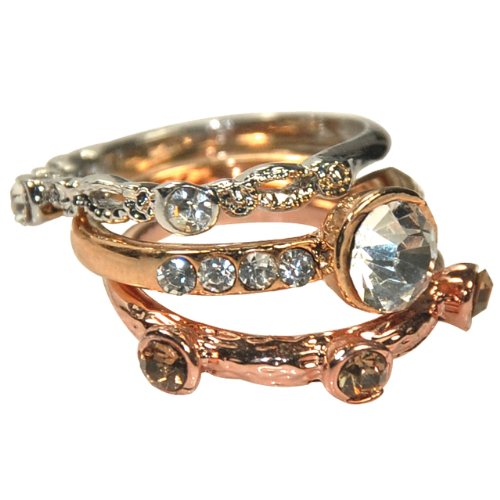Sparkling Crystal Triple Tone Stackable Ring Set - Size 7 by Dahlia