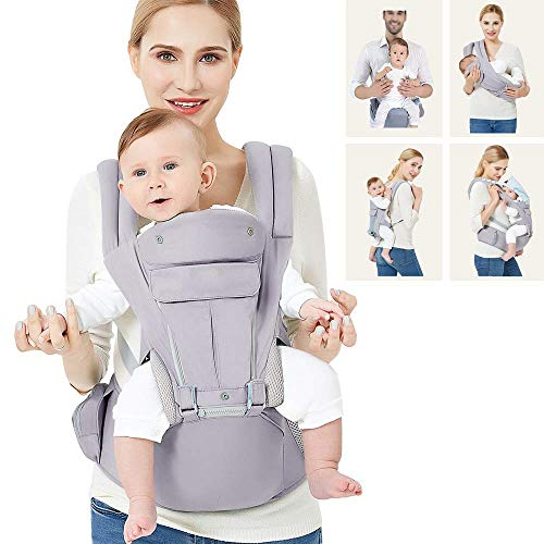 360 Baby Carrier with Hip Seat, 9 Ergonomic & Safe Positions for Newborns Infants & Toddlers, Truly Hands Free Front and Back Carrier Perfect for Traveling, Hiking and Easy Breastfeeding