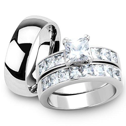 Marimor Jewelry Her & His 3pc Stainless Steel Princess Wedding Ring Set & Men