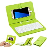 Efanr® Universal Wired Keyboard Flip Holster Case Cover For Samsung Galaxy Note 5 4 3 2 S7 S6 S5 S4 S3 HTC M9 M8 One plus One and other 4.2''-6.5'' Andriod Mobile Cell Phones With OTG (Green)