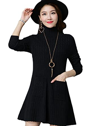 3cf35b281a828 Minibee Women s Turtleneck Knitted Long Sleeve A-Line Tunic Sweater Mini Dress  With Pockets Black