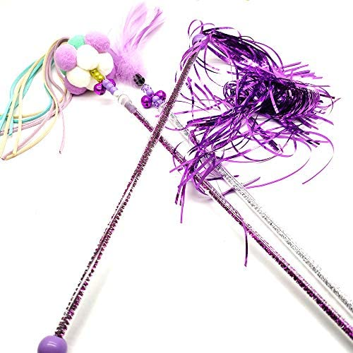Cat Teaser Wands 3 PCS Cat Wands Interactive Cat Toys Cat Stick with Balls, Feather and Tassel for Cat Kitten Having Fun Exerciser Playing 4