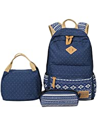 ABage Girls Canvas Backpack Set 3 Pcs Polka Dot Lunch Box Student School Backpack