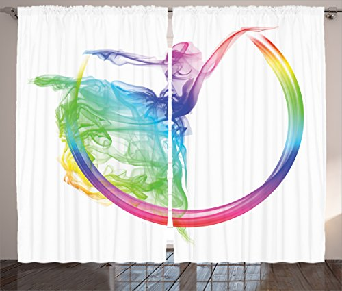 Ambesonne Abstract Home Decor Collection, Smoke Dance Shape Silhouette of Dancer Ballerina Rainbow Colors Fantasy Image, Living Room Bedroom Curtain 2 Panels Set, 108 X 84 Inches, Blue Aqua Yellow by Ambesonne