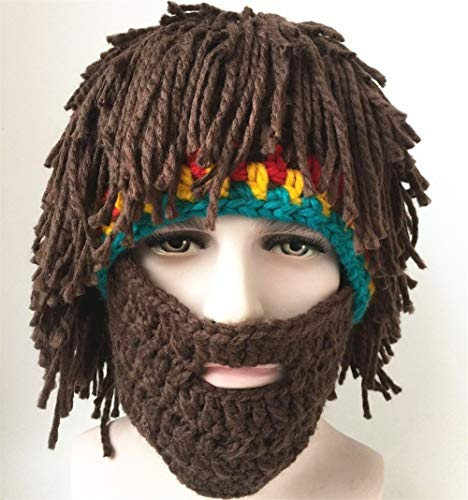 Jenny Shop Beard Wig Hats Handmade Knit Warm Winter Caps Men Women Kid, Brown -