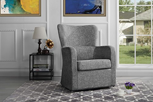 Modern Swivel Armchair, Rotating Accent Chair for Living Room (Light Grey) from Divano Roma