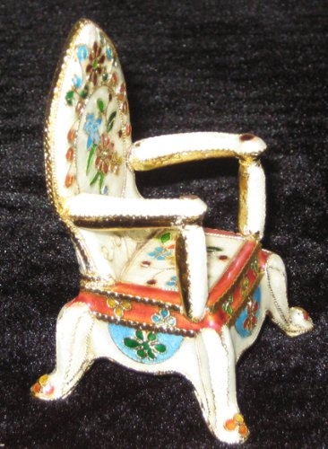 Christmas Gift! Cloisonne Goldtone Miniature Royal Throne