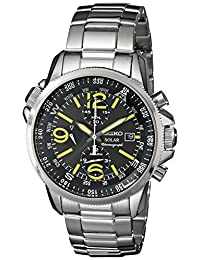 Seiko Mens Solar-powered Quartz Ion-plated Stainless Steel watch #SSC093
