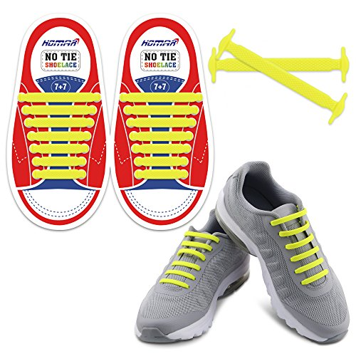 42980bab499d HOMAR No Tie Shoelaces for Kids and Adults - Best in Sports Fan Shoelaces -  Waterproof Silicone Flat Elastic Athletic Running Shoe Laces with  Multicolor for ...