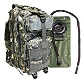 Small Military Tactical Bug Out Go Bag Backpack -2.5 Liter Hydration Water Bladder System Included by Monkey Paks (ACU)