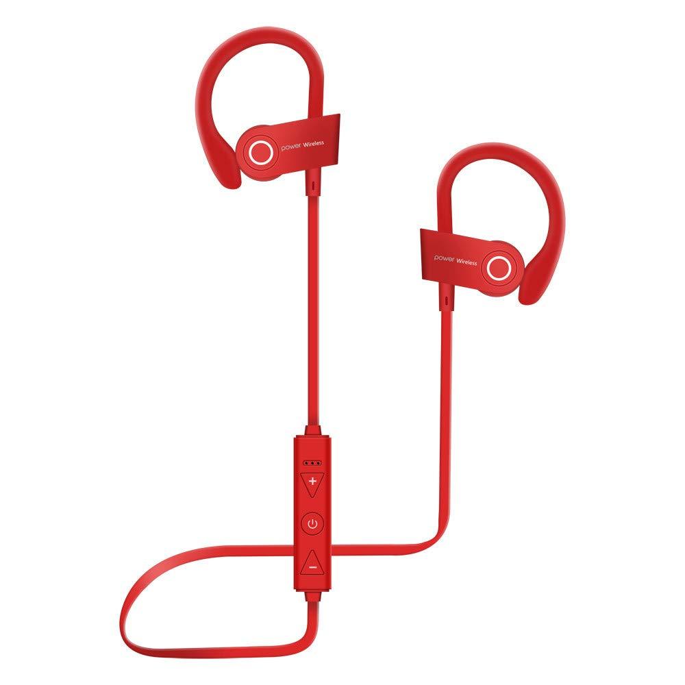 Wowpower Wireless Bluetooth 4.1 Sweatproof Sport Gym Headset Stereo Headphone Earphone (red)