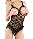 Oh La La Cheri Open Cup Crotchless Teddy, One Size, Black