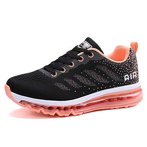 Unisex Scarpe da Ginnastica Basse Sneakers Sportive Running Fitness Gym Shoes Rose-rosso nero