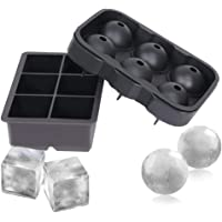 Ice Cube Trays (Set of 2), Silicone Sphere Whiskey Ice Ball Maker with Lids & Large Square Ice Cube Molds for Cocktails…