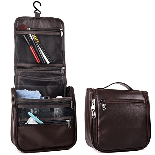 Toiletry Bag,Travel Makeup Cosmetic Bag, PU Leather Hanging Toiletry Bag for Women and Men
