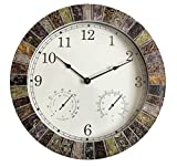 BACKYARD EXPRESSIONS PATIO · HOME · GARDEN 914931 Decorative Weather Monitoring Indoor/Outdoor Clock, Multicolor
