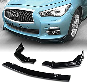 EPARTS 3 Pieces Style Front Bumper Lip Spoiler Side Body Kit Trim Protection Black Painted Compatible with 2014-2017 Infiniti Q50