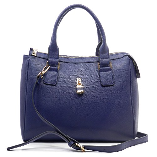 Le Miel Texture Padlock Top Handle Satchel Handbag (navy Blue) Lb042
